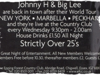 Epping Forest Country Club Flyer, DJ Johnny H DJing At Essex Best Over 30s Night In 1997