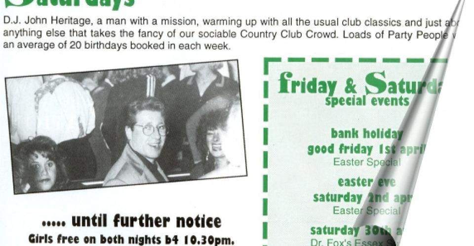 Epping Forest Country Club In House Magazine, DJ Johnny H Just Started At The Country Club In 1992