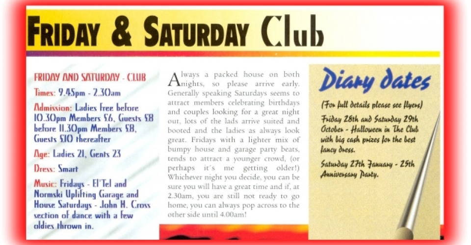 Epping Forest Country Club In House Magazine, DJ Johnny H Saturday Night Advert 1996
